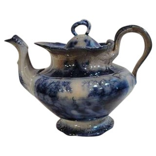 19th Century Flow Blue Rare India Pattern Tea Pot For Sale