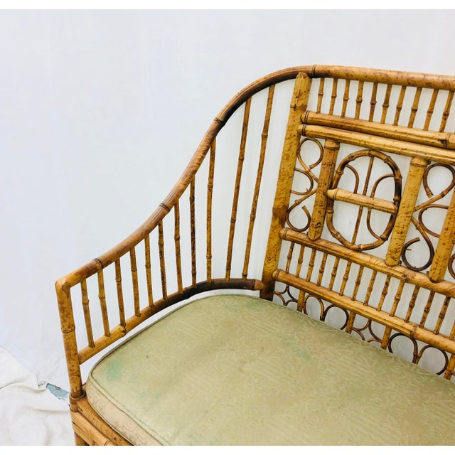 Vintage Scorched Bamboo & Cane Settee For Sale - Image 9 of 13