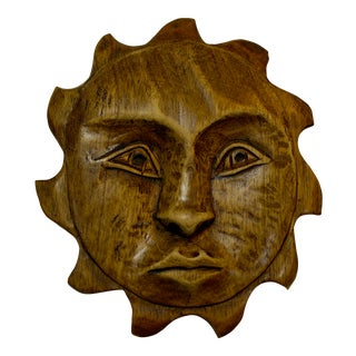 1960's Mid-Century Wood Carved Sun Face For Sale
