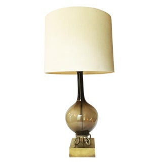 Vintage Mid-Century Modern Smoky Glass Table Lamp For Sale