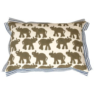 Block Printed Elephant Pillow