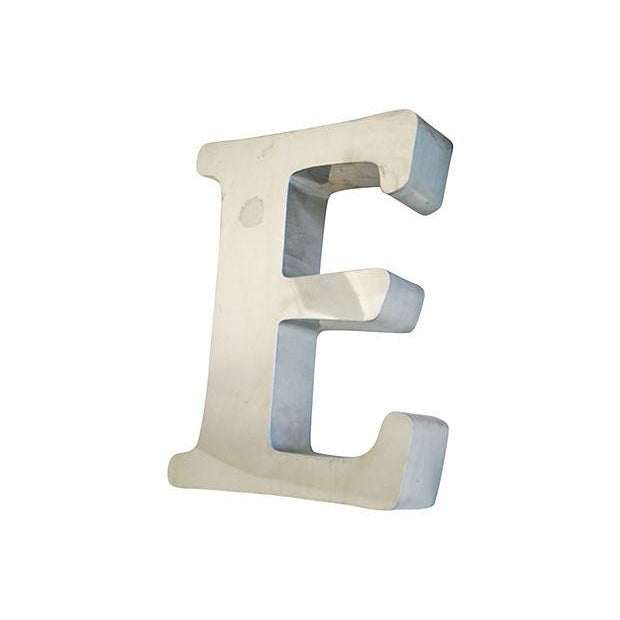 Large 1970s Stainless Steel Marquee Letter E - Image 2 of 5