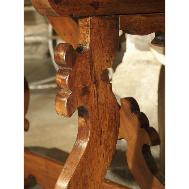 19th Century Tuscan Walnut Table With Shaped Wooden Stretchers For Sale - Image 12 of 13