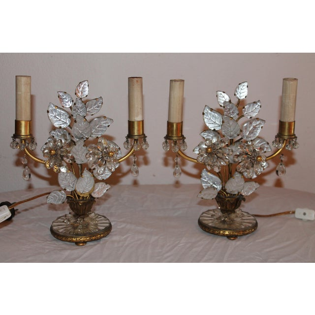 Pair absolutely stunning and very rare pair of Deco period French Maison Bagues Table Lamps - Cut crystal petals, thick...