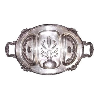 1960s Vintage Silver Meat Tray For Sale
