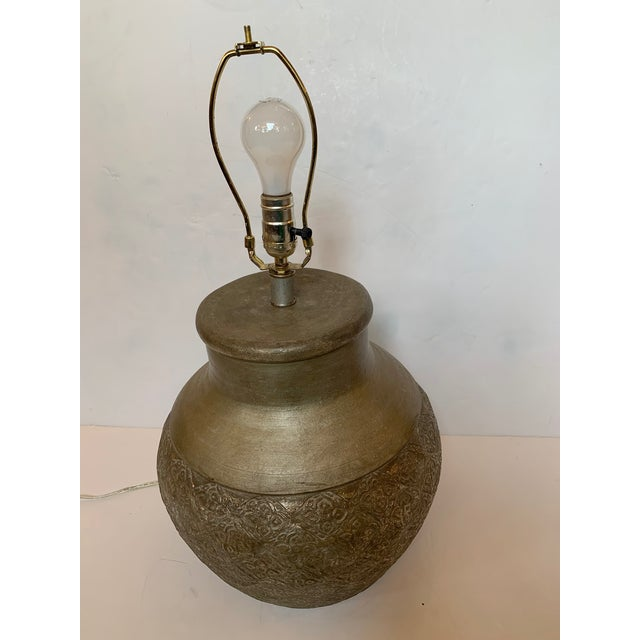 Embossed Metal Round Table Lamp For Sale - Image 9 of 13