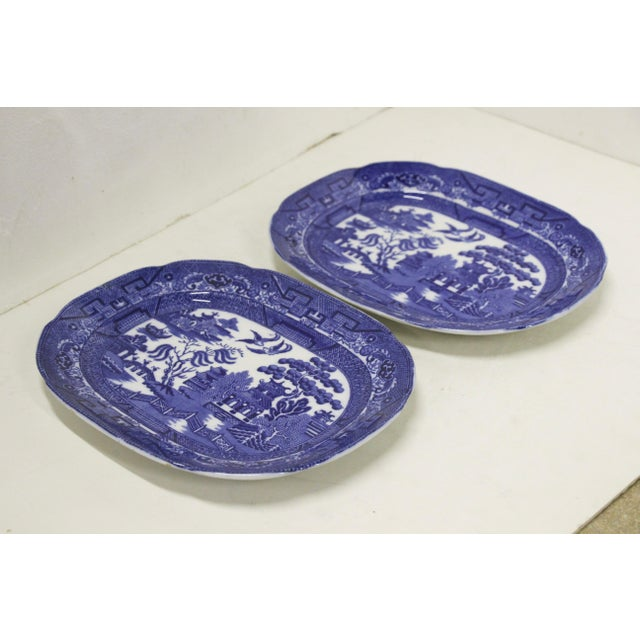 English Traditional English Blue Willow Platters, Pair For Sale - Image 3 of 6