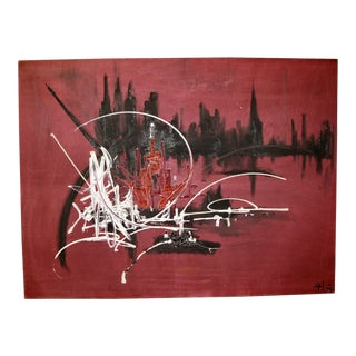 French Abstract Oil on Canvas in the Manner of Georges Mathieu, 1974 For Sale