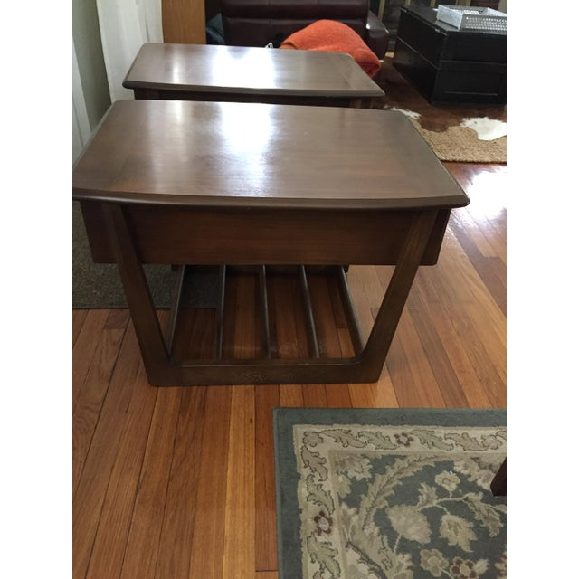 Mid-Century Modern Slat Base Side Tables - Pair - Image 4 of 7