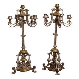 Silvered Bronze & Bronze 6-Light Candelabras For Sale