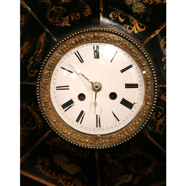19th Century, French Napoleon III Black and Gilt Painted Tole Wall Clock For Sale In Dallas - Image 6 of 10