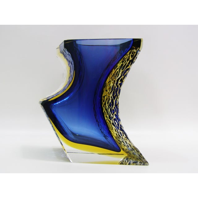 Large and heavy, asymmetrical, two-toned Mandruzzato Murano glass vase with cobalt blue and yellow sommerso, textured...