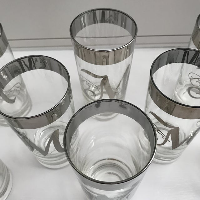 """Dorothy Thorpe Intial """"M"""" Tall Glasses - Set of 8 For Sale In Sacramento - Image 6 of 11"""