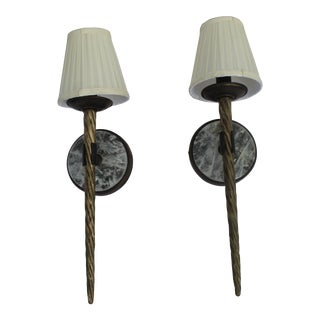 Deco Modern Rock Crystal Bronze Narwhal Design Sconces - a Pair For Sale