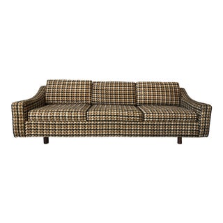 Harvey Probber Tuxedo Style Sofa With Jack Lenor Larsen Upholstery For Sale
