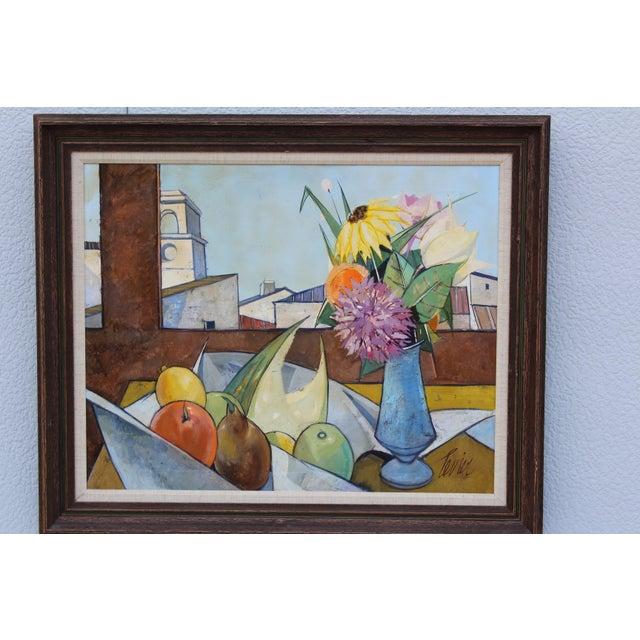 1960s oil on canvas artwork by French artist Charles Levier tittle Dans Le Atelier (1920-2003). Artwork measurements width...