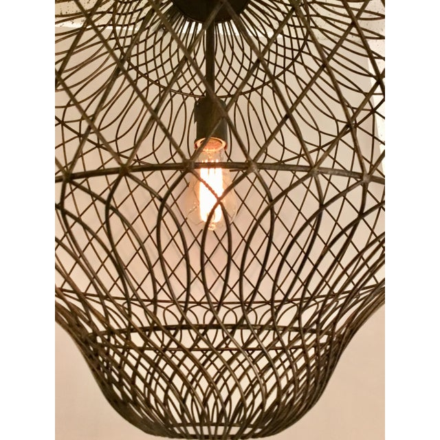 Moroccan Currey & Co. Trellis Iron Pendant For Sale - Image 3 of 5