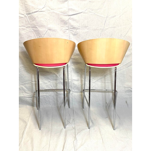 Set of 4 Heavy Duty Chic Pink Fabric Bar Counter Stools Wood Back For Sale In New York - Image 6 of 9
