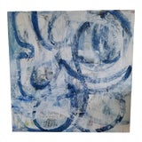 Image of Beth Downey Modern Blue & White Multimedia Painting For Sale