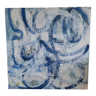 Beth Downey Modern Blue & White Multimedia Painting For Sale