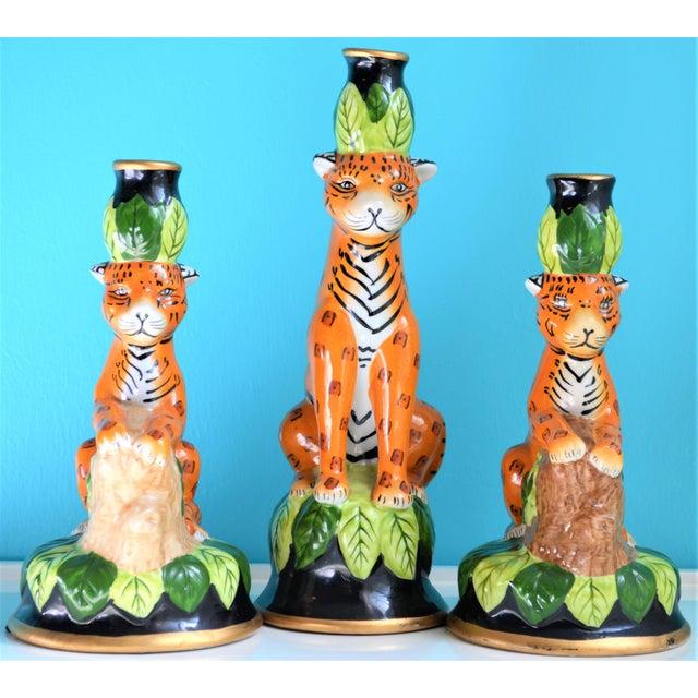 Boho Chic Vintage Palm Beach Regency Leopard Candle Holders- Set of 3 For Sale - Image 3 of 9