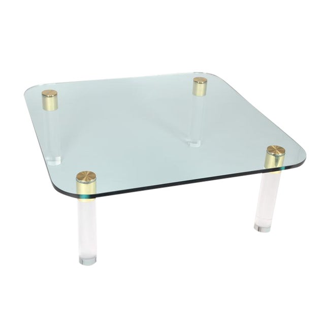 1970S BRASS, GLASS AND LUCITE COCKTAIL TABLE BY PACE For Sale