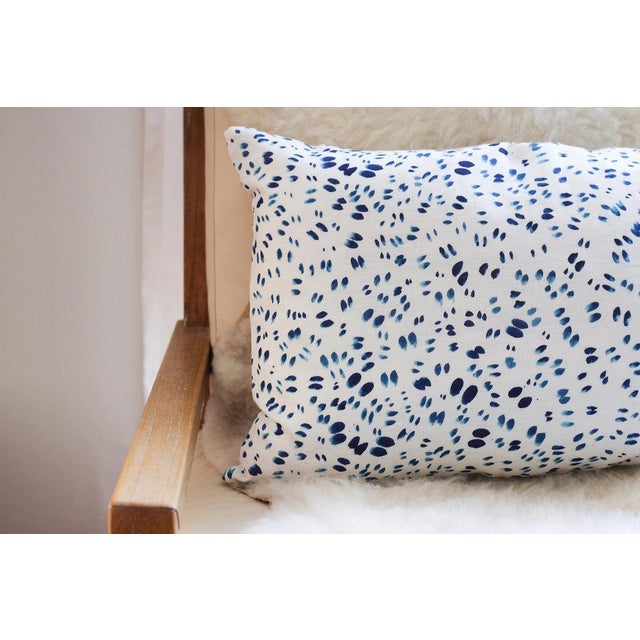 "Scattered Indigo Petals Linen Pillow - 10"" X 22"" - Image 7 of 7"