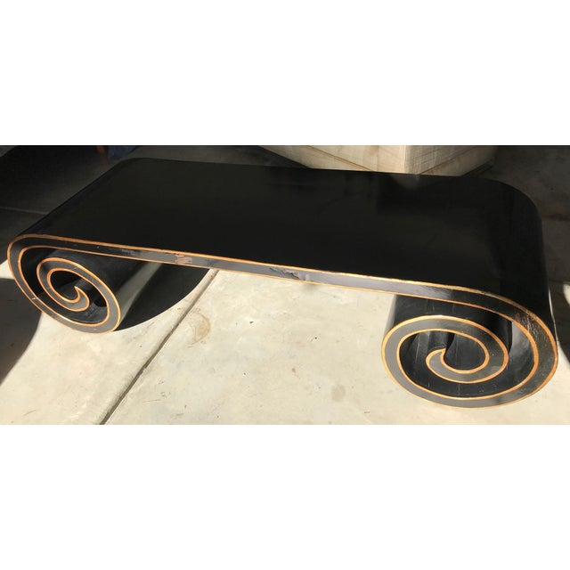 Black and Gold Lacquer Scroll Coffee Table For Sale - Image 9 of 11