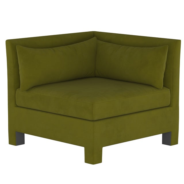 4 Piece Sectional , Velvet Applegreen For Sale In Chicago - Image 6 of 9