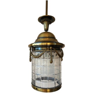 20th Century Brass Lantern Hanging Pendant With Handblown Circular Glass For Sale
