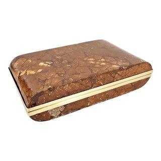 Vintage Enrique Garcel Coconut Shell Box with Brass Detailing