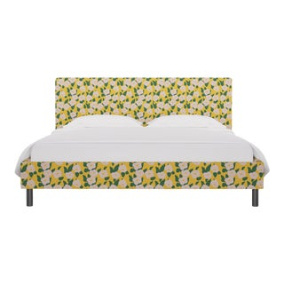 California King Tailored Platform Bed in Yellow Belle Du Jour For Sale