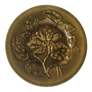 1880 Antique Longchamp Green Majolica Hazelnut Plate For Sale