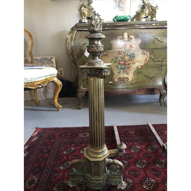 C. 1900 Neo Classical Brass Pillar Fireplace Andirons - a Pair For Sale In Minneapolis - Image 6 of 13