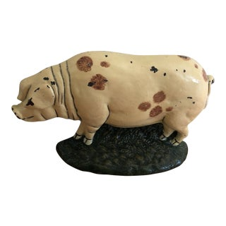 1920s Antique Cast Iron Pig Door Stop For Sale