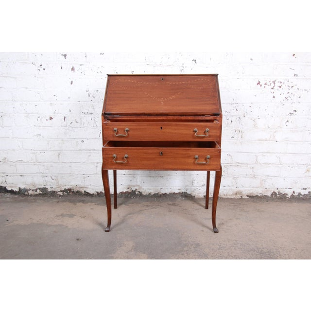 French Louis XV Style Mahogany Drop-Front Secretary Desk With Mother Of Pearl Inlay For Sale - Image 10 of 13