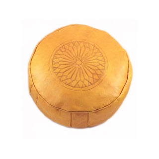 Yellow Leather Moroccan Pouf Ottoman For Sale