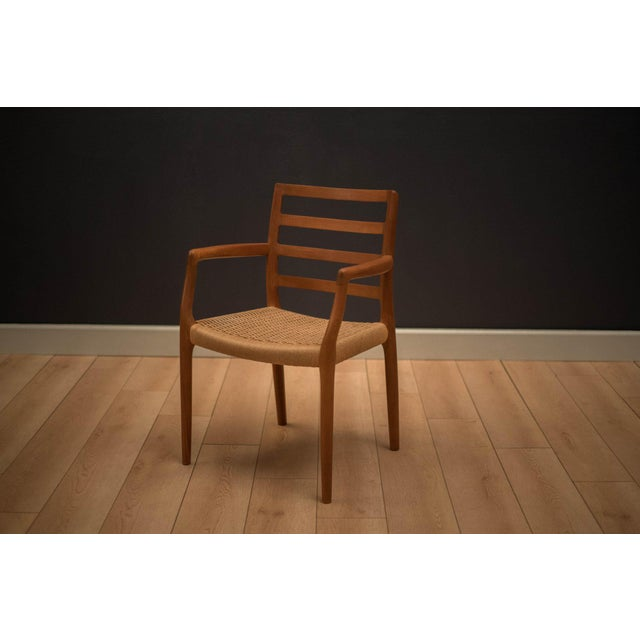 Brown Vintage Mid Century Moller Model 85 Danish Teak Dining Chairs- Set of 8 For Sale - Image 8 of 12