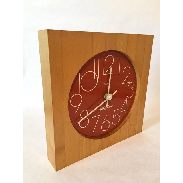 Contemporary Vintage Enamel Butcher Block Seth Thomas Clock For Sale - Image 3 of 7