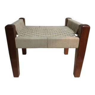 Michael D'Souza Shikari French Polished Teak & Rope Bench For Sale