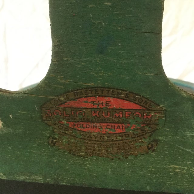 1920s Vintage Louis Rastetter & Sons Green Wood Folding Chairs - a Pair For Sale - Image 10 of 13