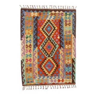 Afghan Kilim Handspun Wool Rug - 3′8″ × 4′11″ For Sale
