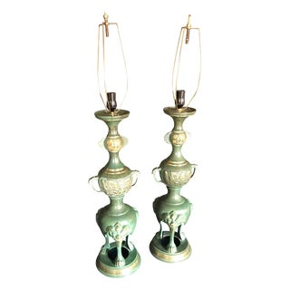 Dramatic Pair of James Mont Style Asian Lamps For Sale