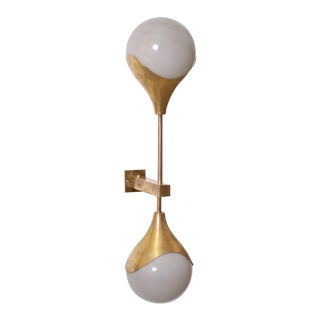 1 of 14 Murano Glass and Brass Sconce or Wall Lamp Attributed to Stilnovo For Sale