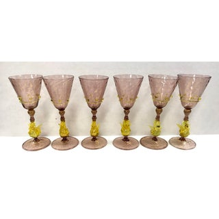 Pink Venetian Murano Wine Glasses Goblets - Set of 6 Preview