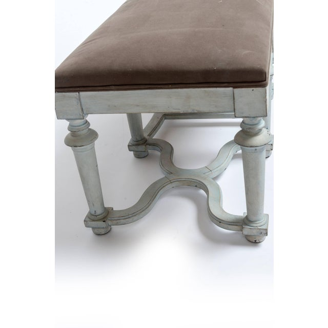 Late 19th Century Pair of Light Blue or Green Painted Benches With Grey Cushions For Sale - Image 5 of 11