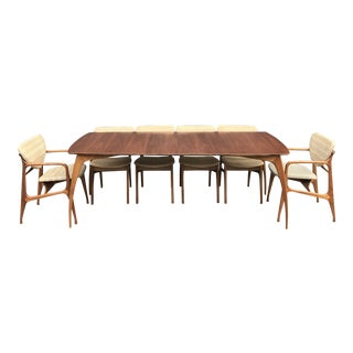 Restored! Walnut Dining Table 6 Chairs Specialty Woodcraft Mid Century For Sale
