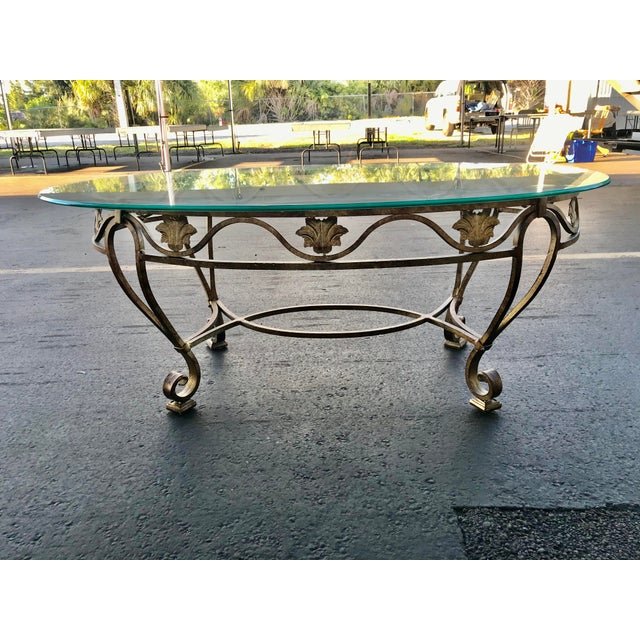 Vintage Oval Metal Glass Top Table For Sale - Image 9 of 9