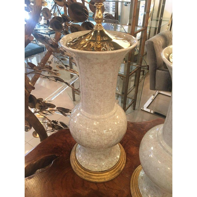 Crackle Glaze Ceramic Pagoda Brass Table Lamps - a Pair For Sale - Image 10 of 11