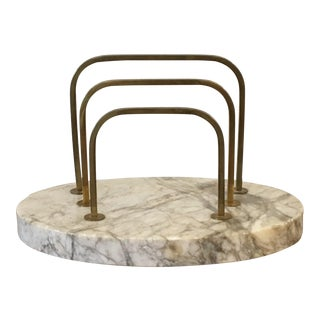 20th Century Hollywood Regency Marble & Brass Desk Valet Letter Holder For Sale